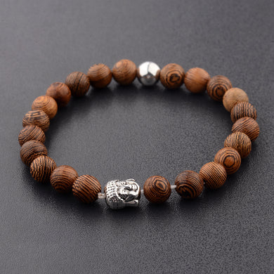 Buddha Head Wooden Lucky Bracelet Men