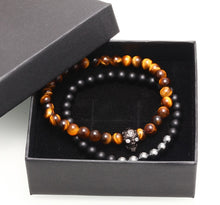 [Set of 2 pc] Natural tiger eye stone beads skull bracelets