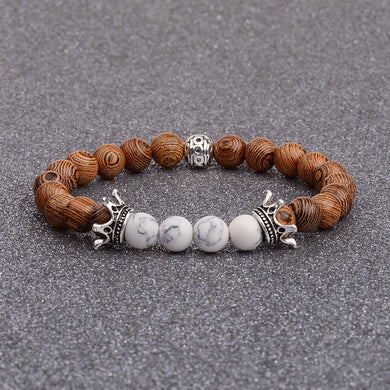 Silver Crown Wood Bead Bracelet