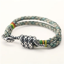 Vintage stainless steel snake braided leather bracelet