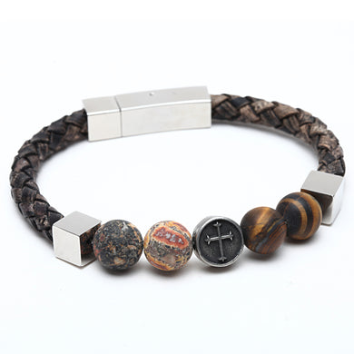 Natural stone leather bracelet