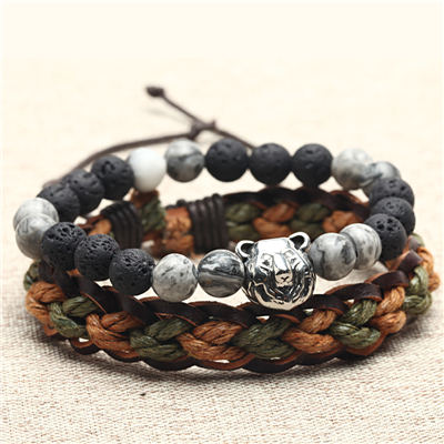[Set] Braided rope leather Natural stone beads bracelets