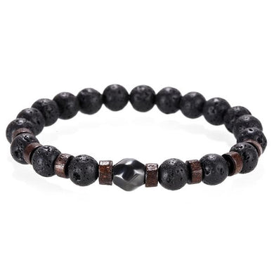 Handmade lava stone wood beaded bracelet