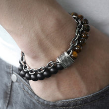 Natural Marble Stone Beaded Stainless Steel Link chain Bracelet