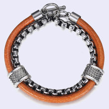 Stainless steel link chain combining leather bracelet