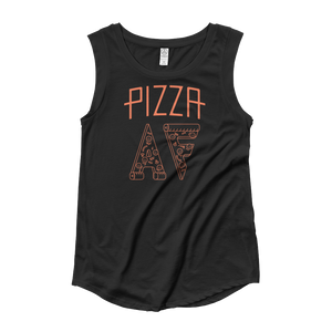 Pizza AF Women's Cap Sleeve Shirt (Black)