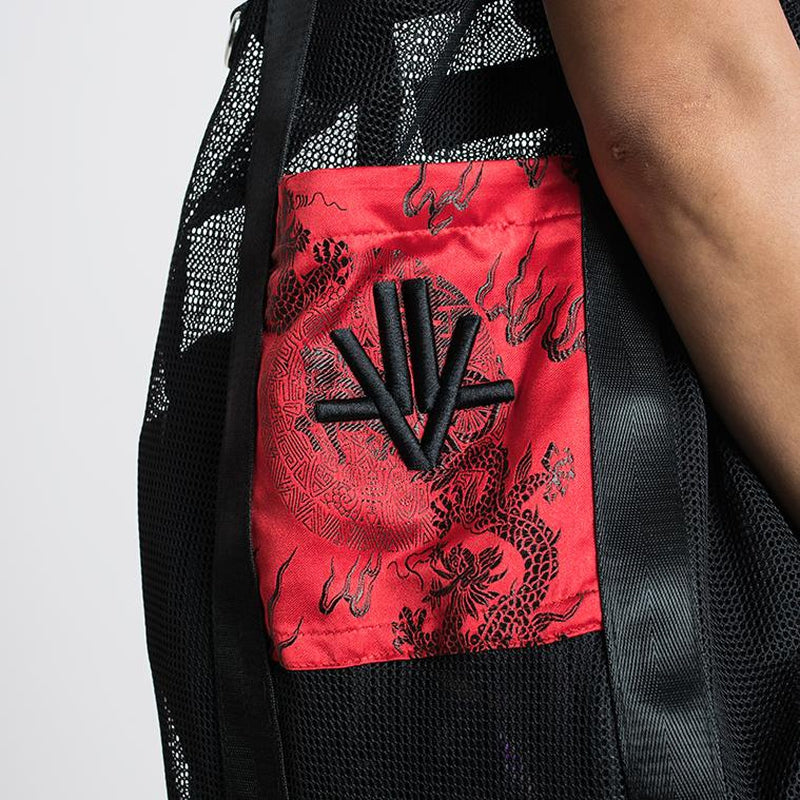 LVT Tote Bag with Red Dragon Brocade