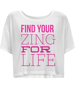 Zing Quote - Ladies Flowy Boxy T-Shirt with Pink Writing