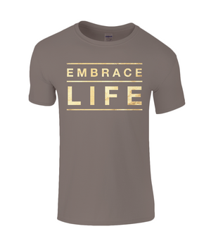 Embrace Quote - Kids T-Shirt with Gold/Sandy Writing