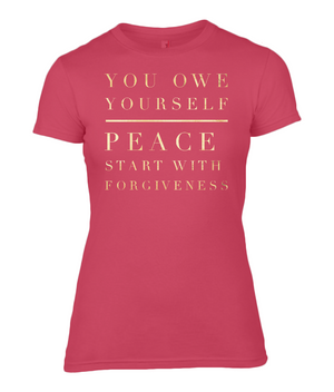 Forgive Quote - Ladies T-Shirt with Gold / Sandy Writing