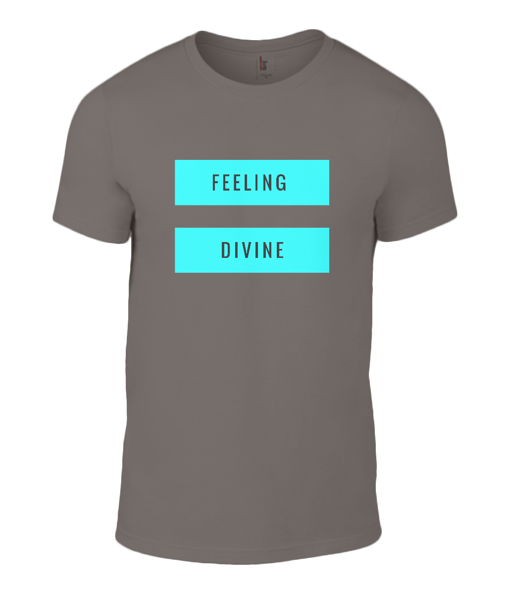 Divine Quote - Mens T-Shirt with Aqua/Turquoise Writing