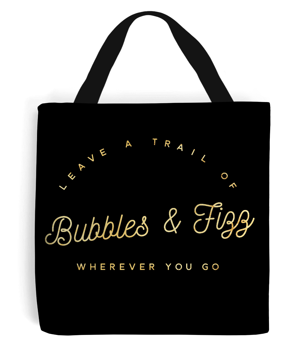 Bubbly Personality Quote - Tote Bag with Gold/Sandy Writing