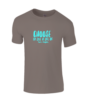 Choice Quote - Kids T-shirt with Aqua/Turquoise Writing