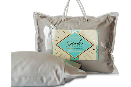 "Satin Travel Pillow by Starlet Satin, Travel Pillow in ""Stardust Silver"""