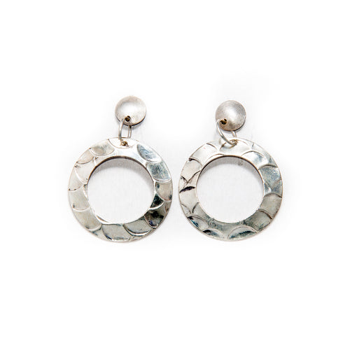 Sterling silver circular fish scale earrings