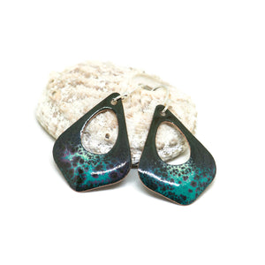Enamel blue crackle earrings