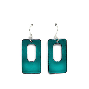 Enamel turquoise geometric earrings
