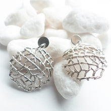 Sterling silver fan coral earrings