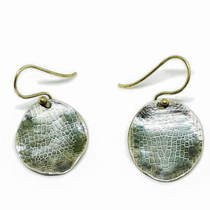Sterling silver, oxidised plant cell earrings