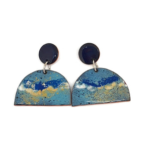 Enamel blue fantasy earrings