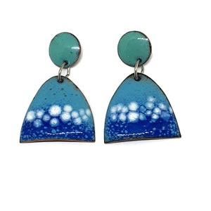 Enamel blue bubbles earrings