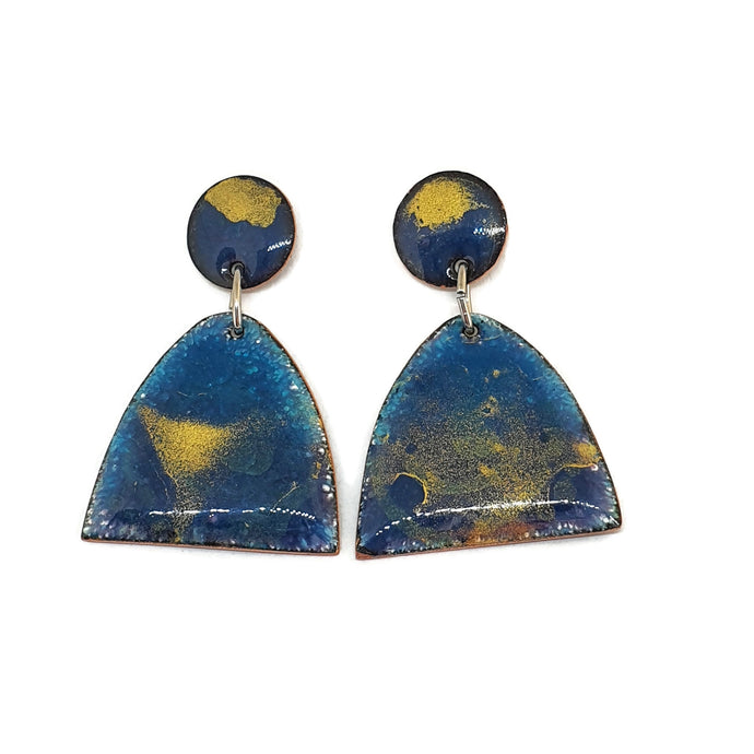 Enamel blue gold earrings