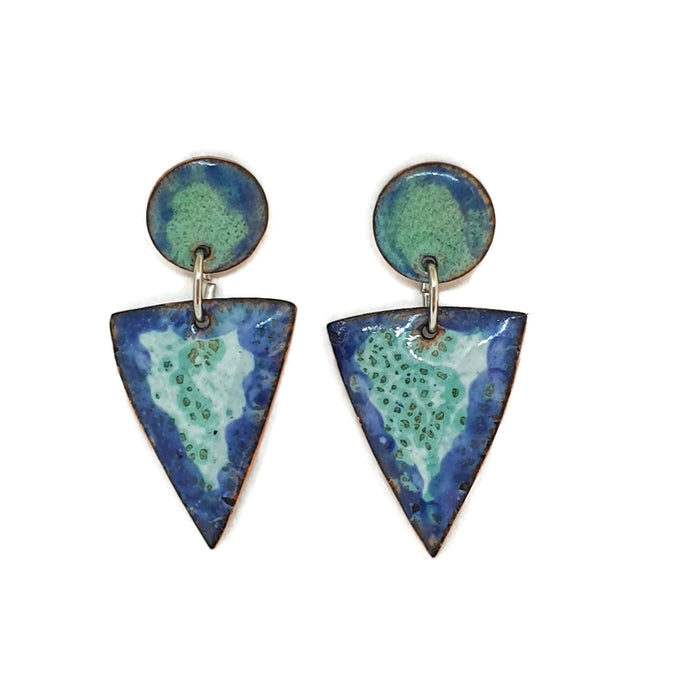 Enamel blue and turquoise triangle earrings