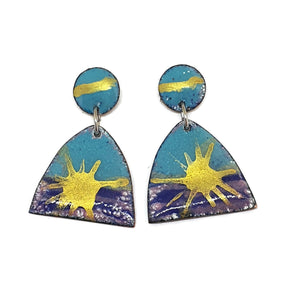 Enamel blue and gold earrings