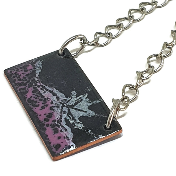 Enamel black and pink fantasy pendant