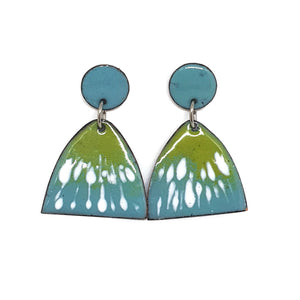 Enamel blue green spring earrings