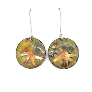 Enamel olive green and gold earrings