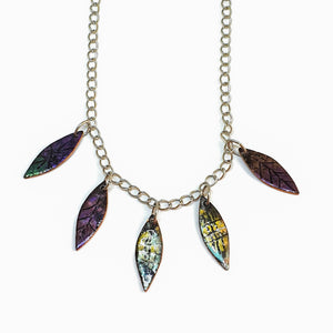 Enamel fantasy leaf necklace