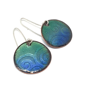 Enamel green and blue waves earring and pendant set