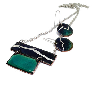 Enamel green, blue and silver earring and pendant set