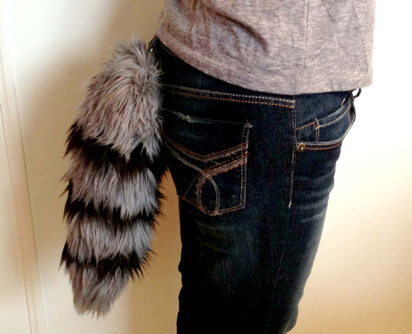 Gray Raccoon Tail with Black Stripes - Morphe
