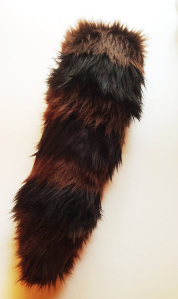Brown Raccoon Tail with Black stripes in Faux Fur - Morphe