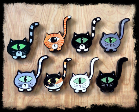 Cat Magnet Handmade Wooden Kittyclops