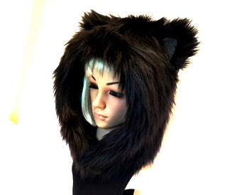 Black Cat Hood Faux Fur Animal Hat - Morphe