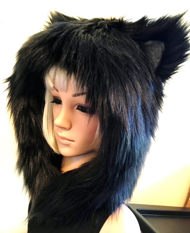 Black Cat Hood Faux Fur Animal Hat
