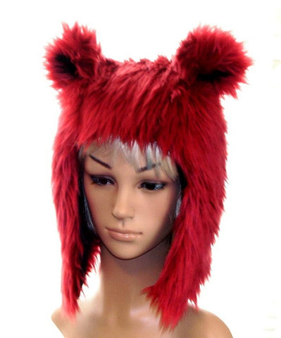 Bear Hat in Dark Red Faux Fur - Morphe