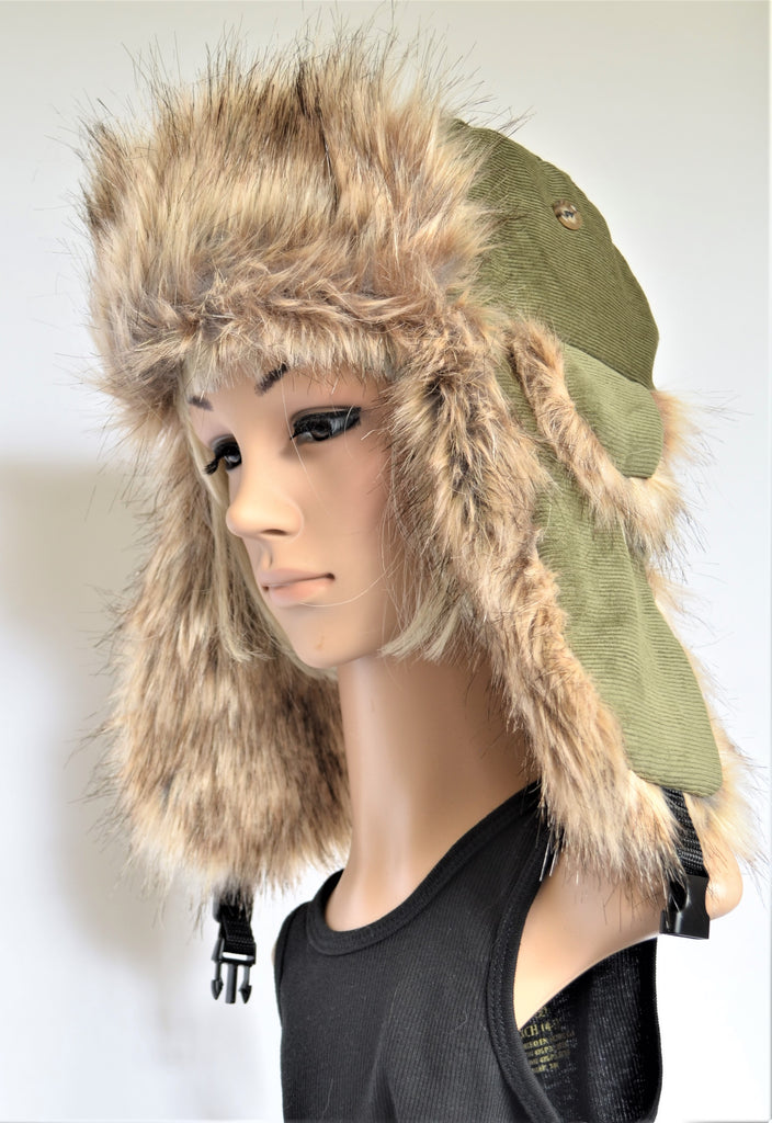 Corduroy Olive Trapper Hat with Faux Fur - Morphe