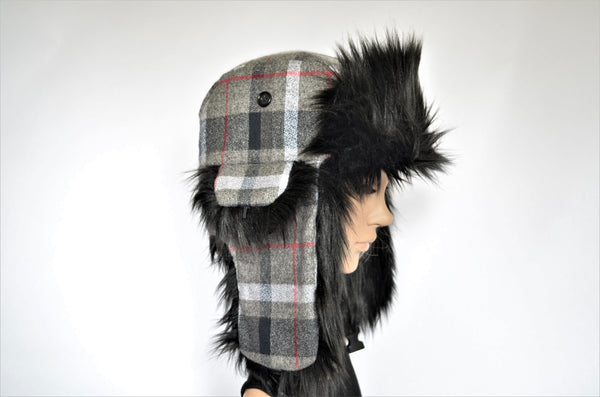 Gray Plaid Trapper Hat with Black Faux Fur - Morphe