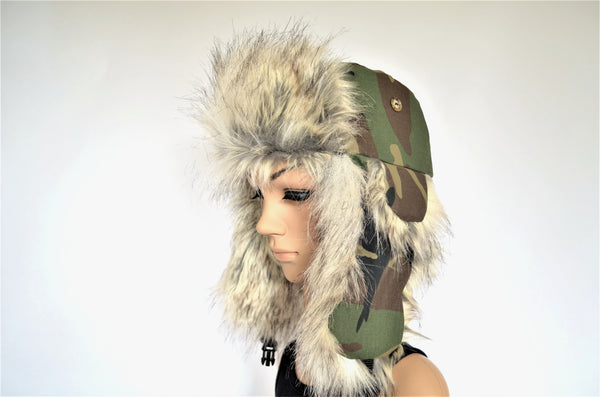 Camouflage Trapper Hat with Faux Fur Camo - Morphe