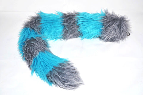 Cat Tail Gray with Blue Stripes Faux Fur - Morphe