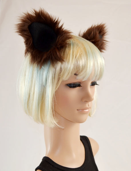 Brown Raccoon Ears Clip On in Faux Fur - Morphe