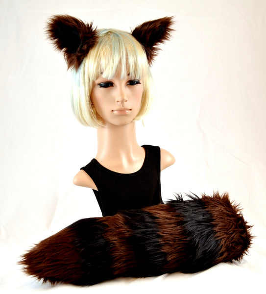 Brown Raccoon Ear Tail Faux Fur Clip on Set - Morphe