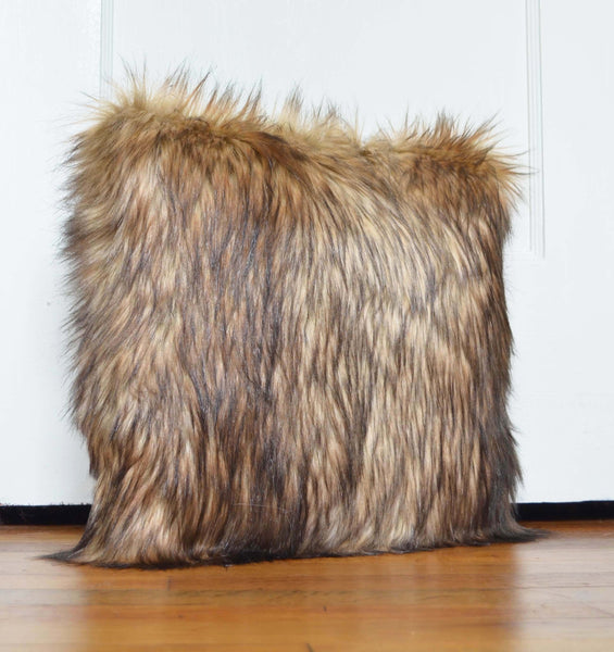 Pillow of Brown Natural Wolf Faux Fur includes Pillow Insert Handmade - Morphe