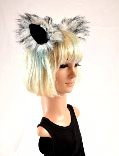 Wolf Husky Clip On Ears in Faux Fur - Morphe