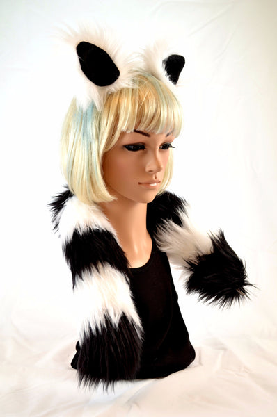 Lemur Ear Tail Clip On Faux Fur Set in Black and White - Morphe
