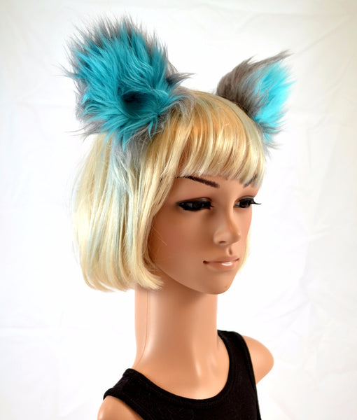 Cat Clip On Ears in Blue and Gray Faux Fur - Morphe